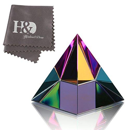 H&D HYALINE & DORA Pisapapapeles de cristal iridiscente de 5 cm con caja de regalo de colores arco iris adornos de cristal decoración del hogar oficina