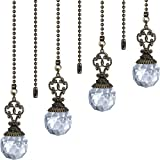 Ceiling Fan Pull Chains Crystal Prism Ball Extension Fan Pull Chain Pendant 12 Inch Vintage Ceiling Fan Chain Extender Ornament with Ball Fan Chain Connector for Ceiling Light Fan (Transparent, 4)