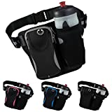 Trendking Waist Bag with Water Bottle Holder, Reflective Running Belt, Adjustable Waist Pack, Ultralight Workout Waist Pouch Fits up to 6 Inch Cell Phone 1 Pack (Gray&Black)