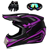 Youth Off-Road Motorcycle Helmets,Children's Helmets for Off-Road Motorcross and Mountain Bikes,Comfortable and Light Weight, DOT Quality Certification,Purple,M