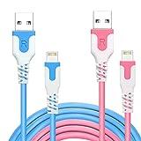 【2本セット】RoiCiel (ディアルズシーリズ)ライトニングケーブル【iPhone/iPad/iPod/AirPods】 各種対応lightning USBケーブル(1.2M 2本セット, ブルー/ピンク)