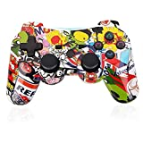 PS3 Controller Wireless Gamepad 6 Axis Double Shock 3 Game Remote Control Joystick for Playstation 3 with Charging Cable (Cartoon Color Mixing)