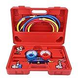 Juego de manómetros múltiples profesionales Conjunto de medidor de múltiple para diagnóstico de aire acondicionado R134a con maletín de almacenamiento con herramienta de manguera de carga de 5 pies