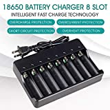 18650 Battery Charger for Rechargeable Batteries and Universal Smart Battery Charger for 18650 26650 14500 16340 18500 10440 18350 17670 Li-Ion Intellicharge Charger 8 Bay (Not Batteries)