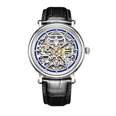Reef Tiger Skeleton Casual Watches for Men Ultra Thin Steel Automatic Watches RGA1917 (RGA1917-YLB)