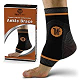 Ankle Compression Brace with Silicone Ankle Support and Anti-Microbial Copper. Plantar Fasciitis, Foot, & Achilles Tendon Pain Relief. Prevent and Support Ankle Injuries & Soreness - L