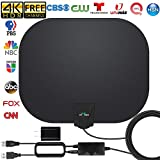 HDTV Antenna, 2020 New Indoor Digital TV Antenna 130 Miles Range with Amplifier Signal Booster 4K Free Local Channels Support All Televisions, 17ft Coax Cable