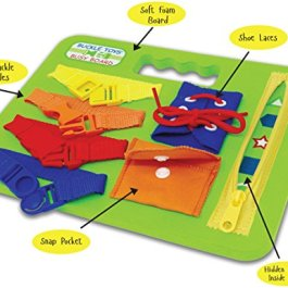 Buckle Toys Busy Board – Learning Activity Toy – Develop Motor Skills and Problem Solving – Learn to Tie Shoes – Easy Travel Toy
