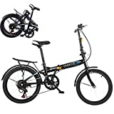 7 Speed Aluminum Easy Folding City Bicycle 20-inch Wheels, Disc Brake, Rear Carry Rack, Front and Rear Fenders, Folding Bike for Adults, Women, Men (Black)