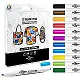 Stationery Island Doble Punta Rotuladores Para Tela Paquete De 12 Colores – 1mm y 2 mm Puntas....