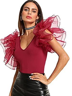 Materials: 97% Polyster, 3% Spandex Layered Mesh, Puff Sleeve, Double V-Neck Very stretchy, Soft and Comfy, Perfect for Summer Perfect for any type of event,date night, formal, casual and so on, pair with jeans, skirt Please refer to the detailed siz...