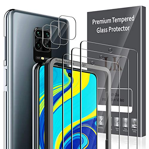 LK [3+3 Pack Protector de Pantalla para Xiaomi Redmi Note 9S Cristal Templado + Xiaomi Redmi Note 9S Protector de Lente de cámara [Doble protección, Alta Transparencia, antiarañazos]
