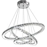ANTILISHA Modern Crystal Chandelier Lighting Ceiling Dining Room Living Room Chandeliers Contemporary Led Light Fixtures Hanging 3 Ring Foyer Girls Bedroom Pendant Lights Cool White