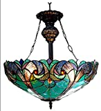 Chloe Lighting CH18780VG18-UH2 Liaison Tiffany-Style Victorian 2-Light Inverted Ceiling Pendant Fixture, 22 x 18 x 18', Multicolor