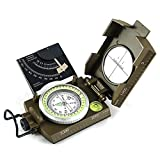 Eyeskey Multifunctional Military Metal Sighting Navigation Compass with Inclinometer | Impact Resistant & Waterproof Compass for Hiking, Camping, Boy Scout (Green)