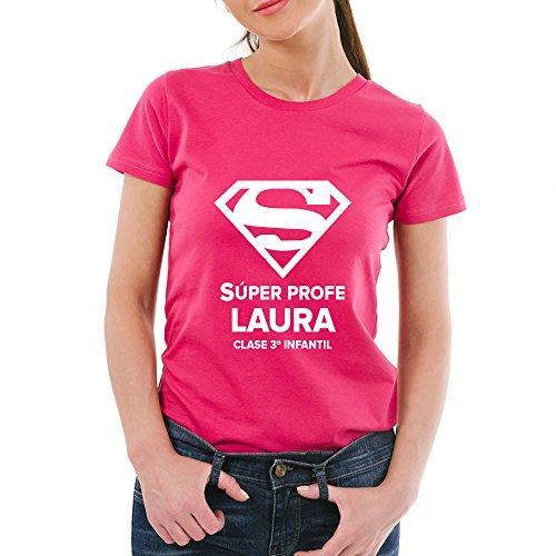Calledelregalo Regalo Personalizable para Profesores: Camiseta Súper Profe Personalizada con su Nombre y el Texto Que tú Quieras (Súper Profe Rosa)