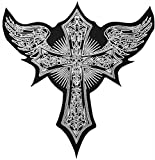 [Large Size] Papapatch Cross with Angel Wings Jacket Vest Costume Biker Motorcycle Embroidered Sew on Iron on Patch (IRON-CROSS-ANGEL-WINGS-LARGE)