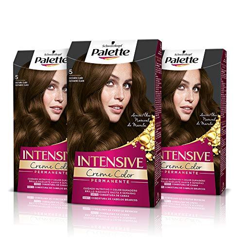 Schwarzkopf Palette Intensive - Tinte 5 cabello Castaño Claro – Perfecta cobertura de canas – Coloración Permanente de Cuidado con Aceite de Marula - Color duradero hasta 8 semanas (Pack de 3)