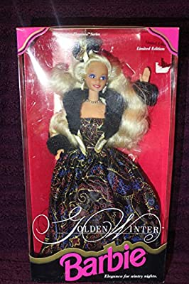 Includes : Golden Winter Barbie Doll with Dress, Jacket, Hairpiece, Earrings, Ring, Necklace, Shoes and Hair Brush Doll measured approximately 12 inch in height For age 3 and up