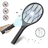 DOUHE Raquette Anti Moustique, USB Tapette à Mouche Electrique, Lampe de Poche Amovible, 4000V,...