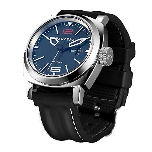 Panzera Aquamarine Diver Automatik Edelstahl Blau Datum Schwarz Silikon Herren Uhr
