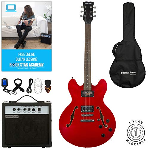 Stretton Payne 335 Hollow Body Semi Acoustic Electric Guitar with practice amplifier, padded bag, strap, lead, plectrum, tuner, spare strings. Guitar in Cherry Red