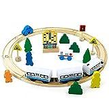 jerryvon Circuit Bois Train Electrique Magnétique Locomotive Batterie Circuit...