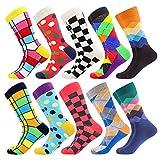 BONANGEL Chaussettes colorées pour hommes, chaussettes habillées drôles, chaussettes de bureau en coton à motifs drôles et élégantes fantaisie (10pairs-Pattern19)