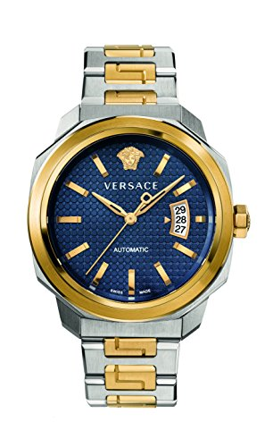 51k0a69doFL 42 mm Two tone case; Blue dial with mesh pattern Two tone bracelet with Greek inserts Automatic Movement