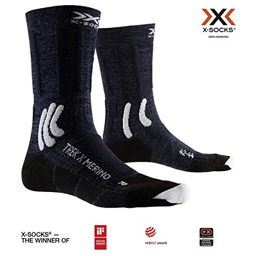 X-Socks Trek X Merino, Calzini da Escursionismo Unisex-Adulto, Midnight Blue/Arctic White, 42-44