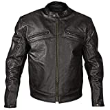 Xelement XSPR105 'The Racer' Mens Black Armored Leather Racing Jacket - X-Large