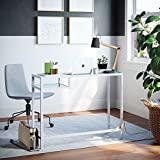 Nathan James 52002 Jayde Home Office Laptop Desk Surface, White (Glass)