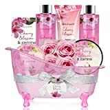 Coffret Bain et Corps-Panier-Cadeau de 8 Pièces au Parfum de Fleur de Cerisier et de...