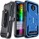 Moto Z3 Play/Moto Z3 Case, COVRWARE [ Aegis Series ] with Built-in [Screen Protector] Heavy Duty Full-Body Rugged Holster Armor Case [Belt Swivel Clip][Kickstand], Blue