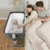 Kidsclub 4 in 1 Baby Bassinet with Wheel, Bedside Sleeper Portable Nursery Crib for Newborn, Rocking Bassinet with Mattress, Sheet, Playpen Play Yard Infant Convertible Bed, Height Adjustable