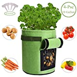Qaxlry Potato-Grow-Bags,Potatoes Growing Containers with Handles&Access Flap for Garden,Vegetables,Tomato,Carrot, Onion,Fruits,Plants Planting Bag Planter (4 PSC)