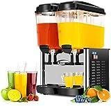 COSTWAY Commercial Beverage Dispenser Machine, 9.5 Gallon 2 Tank Juice Dispenser for Cold Drink,...