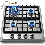 """Happybuy 23""""x20"""" Built in Gas Cooktop 4 Burners Stainless Steel Stove with NG/LPG Conversion Kit Thermocouple Protection and Easy to Clean"""