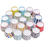 Gabkey 100pcs Random Colorful Premium Greaseproof Cupcake Paper Liners No Muffin Pan Needed Cupcakes Papers