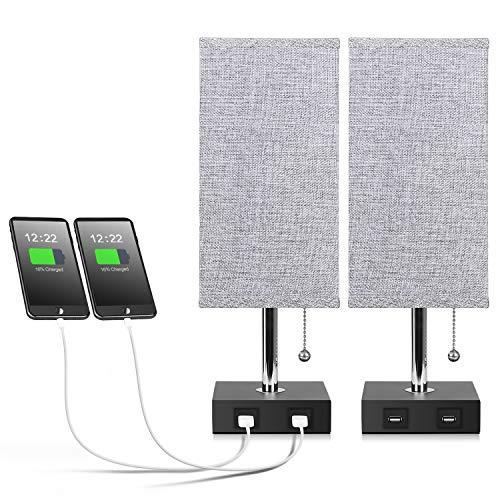 USB Table Lamp, Aooshine Bedside Table Lamps with 2 Useful USB...