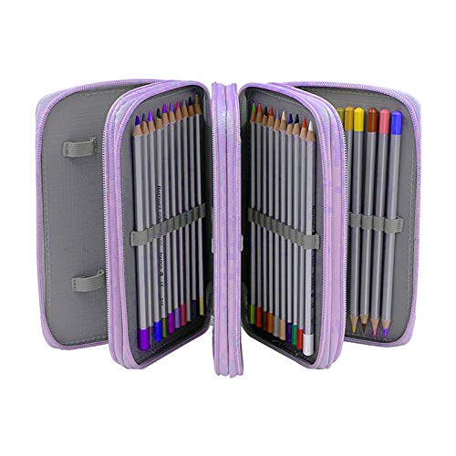 Astuccio per matite, 72 Slot astuccio multistrato portapenne di grande capacit Matite Astuccio in Panno Oxfordcon 4 scomparti Borsa per cancelleria per ragazzi Materiale scolastico per ragazze Purple