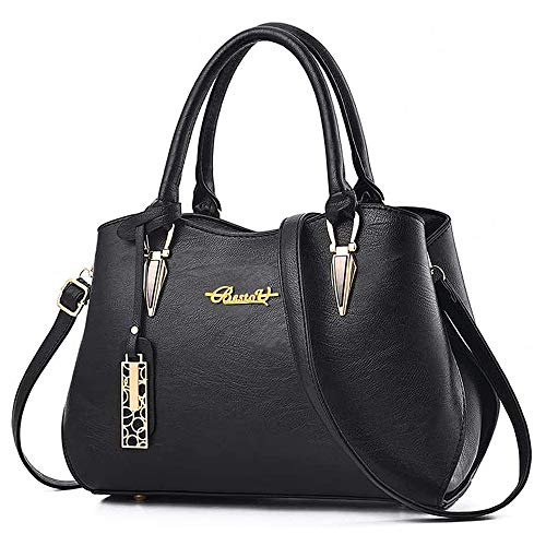 """51k9L7j9j2L 【Superior Material】- The tote bag for women is made of high-quality PU leather and polyester lining, which is soft texture,waterproof and dustproof, it is easy to wipe clean with a damp cloth,very durable and fashionable. 【High Capacity】- The Purses and Handbags has 6 pockets, 1 main pocket, 1 sub-pouch, 1 layered pocket, 1 zipper pocket, 1 phone pocket, and 1 ID pocket. It can easily accommodate ipads,mobile phones,mobile power, wallets, glasses, cosmetics and etc. 【Dimensions】: 11.02""""(L)*5.12""""(W)* 8.67""""(L)(28cm*13cm*22cm), handle height: 5.51""""(14cm), weight: 0.6kg.It is very suitable for your daily use."""