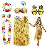 PHOGARY 8PCS Jupe de Hula Kit d'accessoires de Costume pour Hawaii Luau Party -...