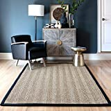 nuLOOM Larnaca Seagrass Solid Outdoor Accent Rug, 2' x 3', Black