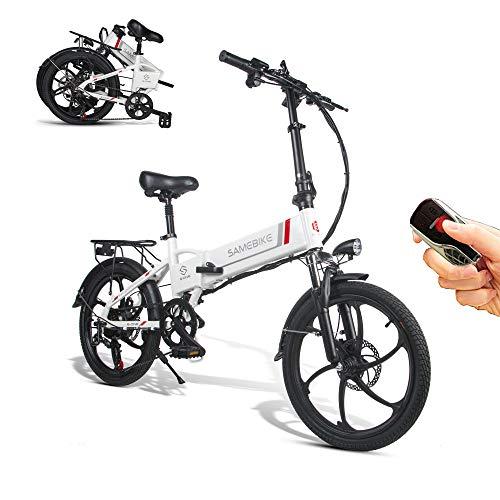 SAMEBIKE vélo électrique 350W 48V 10.4AH Batterie au Lithium avec télécommande vélo électrique Pliant pour Adultes (Blanc)