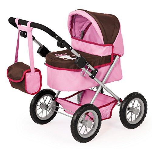 Bayer Design 1306300 Puppenwagen Trendy, höhenverstellbar, zusammenklappbar, Motiv: Einhorn, braun/rosa
