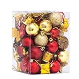 FUNARTY 76-Pack Christmas Ball Ornaments Assorted Shatterproof Christmas Tree Decorations Balls with Reusable Gift Package for Christmas Tree Holiday Wedding Party Decorations (Red and Gold)