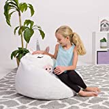 Posh Creations Cute Soft and Comfy Bean Bag Chair for Kids, Large, Animal - White Unicorn