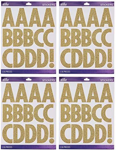Sticko Alphabet Stickers, Regular X-Large, Gold Glitter Futura (Four Pack)