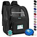 PetAmi Deluxe Pet Carrier Backpack for Small Cats and Dogs, Puppies   Ventilated Design, Two-Sided Entry, Safety Features and Cushion Back Support   for Travel, Hiking, Outdoor Use (Black)